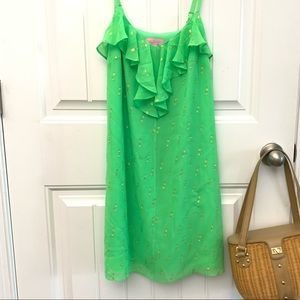 Lily Pulitzer lime green shift silk dress (f)